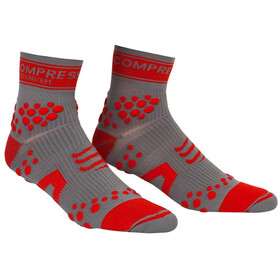 Compressport Racing V2 Trail - Calcetines Running - gris/rojo